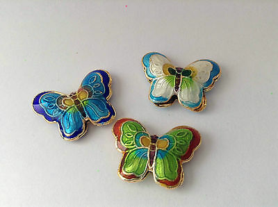 Pack Of 3 Cloisonne Butterfly Beads - Pendants