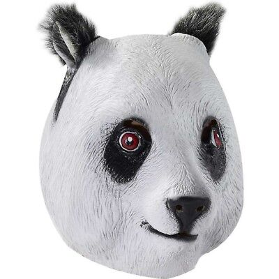 64f77b0b82a ADULT BLACK WHITE Panda Bear Mask Latex Deluxe Zoo Animal Costume Accessory
