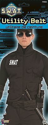 SWAT Team Black Police Officer Cop Utility Belt Adult Costume Accessory