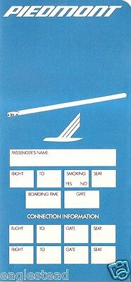 Ticket Jacket - Piedmont - Blue - 3 Flight Format - 1988 (J1769)