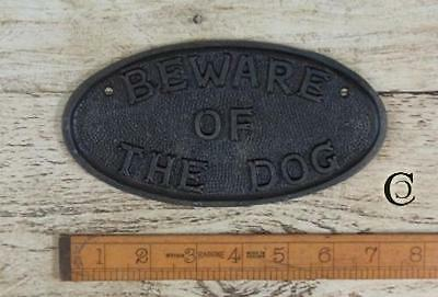 1 Beware Of Dog Sign House Home Garden Fence Post Hanging Cast Iron Vintage Repo
