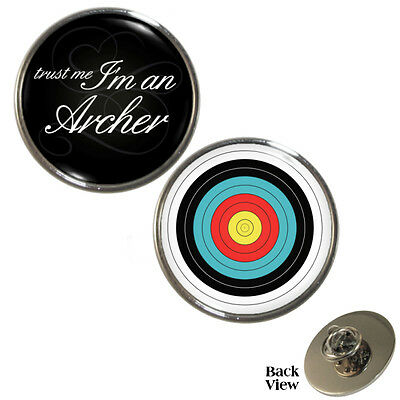 2 Pack Trust Me I'm An Archer & Archery Target Pin Badge Set bowman toxophil NEW