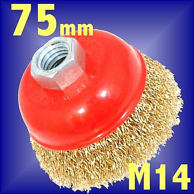 Silverline 75mm Rotary Brass Wire Brush Crimp Cup wheel bowl M14 Angle Grinder