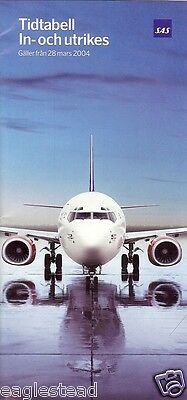 Airline Timetable - SAS - 28/03/04 - to / from Sweden edition