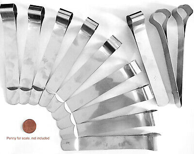 STAINLESS STEEL office bankers paper file money visor background clip set of-12
