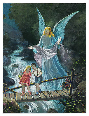 """Dufex Foil Picture Print - Angel Watching Over Children - size 6"""" x 8"""""""