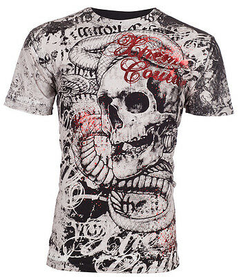 XTREME COUTURE by AFFLICTION Mens T-Shirt TOOTHACHE Skull Tattoo Biker UFC $40 a