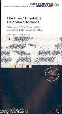 Airline Timetable - Air France - 26/10/03 - OW
