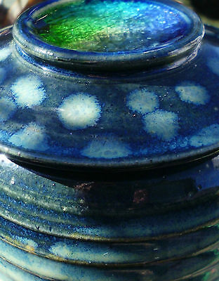 BEAUTIFUL handmade pottery jar with crackle glass lid inset signed blue green