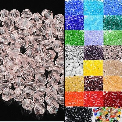 100 Pcs 4mm Faceted Rondelle Crystal Glass Loose Craft Beads Jewellery Making
