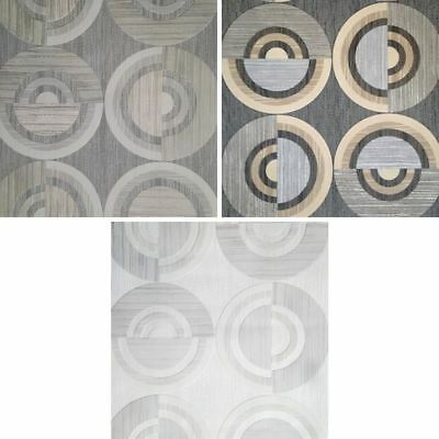 New Direct Circle Eton Circles Motif Striped Textured Blown Vinyl Wallpaper Roll