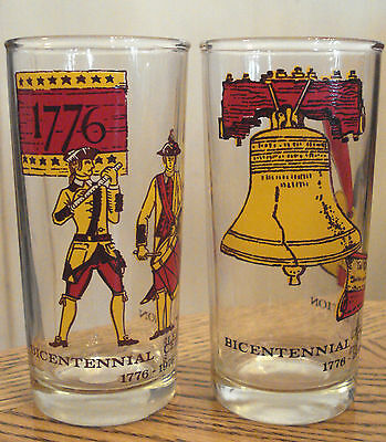 1976 Vintage AMERICAN BICENTENNIAL Drinking Glass LOT of 2 LIBERTY BELL MILITARY