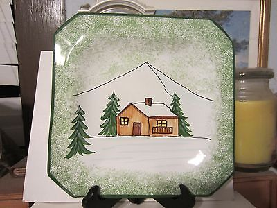 """Talbots Cabin in the Snow 1998 Made in Italy 8"""" Square Pottery Dish NEW NR"""
