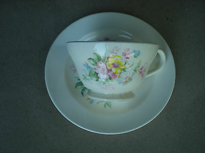Edwin Knowles Floral Cup and Saucer w Summer Flowers Semi Vitreous Mid Century