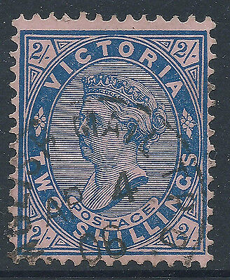 c. 1901 -  1910 VIC Victoria Australia QV 2/- Blue on Pink Postage ENGLISH MAIL