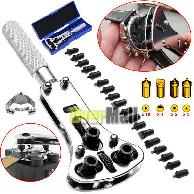 Watch Back Case Opener Wrench Screw Remover Tool Kit Set + Storage Case