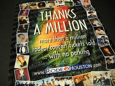 RODEO HOUSTON 1 Million Concert Tickets Sold 2001 PROMO POSTER AD Country Acts