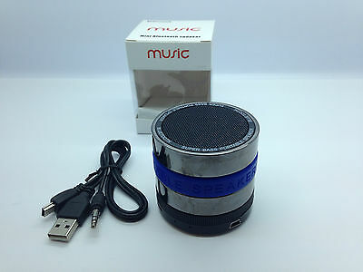 Lot Of 5 New Round Bluetooth Speaker Portable Stereo Wireless Universal Blue
