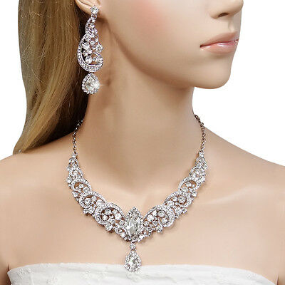 Gorgeous Flower Teardrop Necklace Earrings Set Rhinestone Crystal Clear Bridal