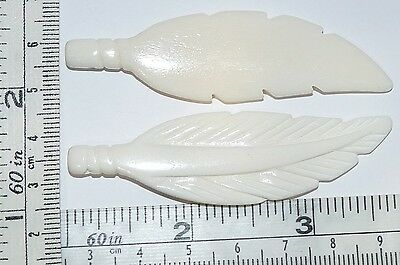 Carved 2.75 Inch Bone Feather Pendants 2 pc Lot Detailed carvings Nice Pendants!