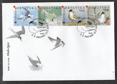 WWF WORLD WILDLIFE FUND CROATIA 2006 BIRDS STRIP 4v FDC