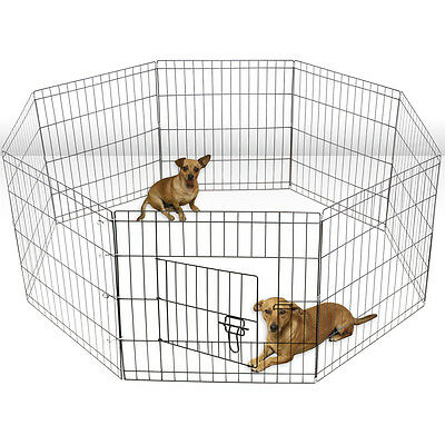 Tall Wire Fence Pet Dog Folding Exercise Yard 8 Panel Metal Play-Pen
