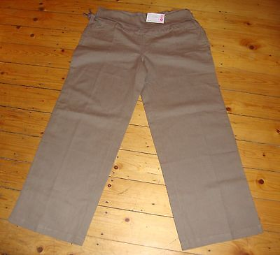 BNWT MATERNITY Taupe Linen Blend Roll Top Trousers Size UK 18 US 14