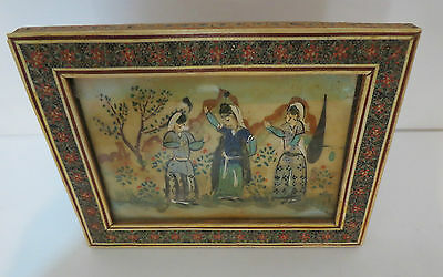 Vintage Persian Miniature Painting Three Girls Dancing  in Khatam Inlaid Frame
