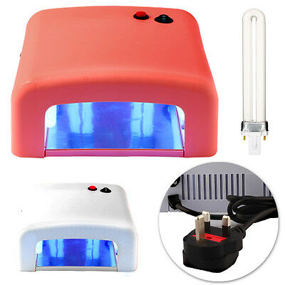 36W White/Pink Professional UV Nail Lamp Dryer for Glue and Gel with 4 x Timers