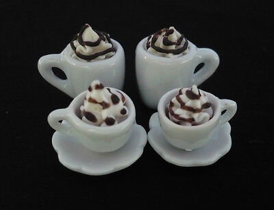 4 Cups of Cappuccino CoffeeDollhouse Miniatures Food Supply Deco
