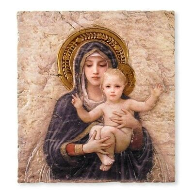 "Madonna with Child Christ Icon 10"" Painted Resin Wall Plaque for Home or Church"
