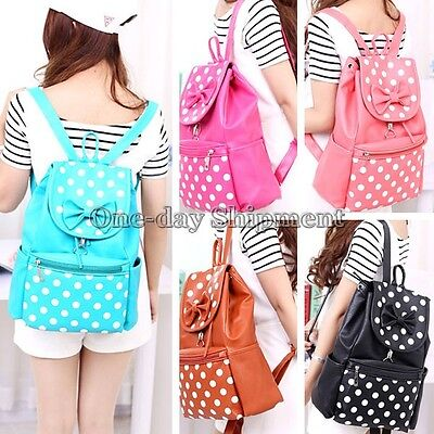 PU Leather Bookbag Cute Bow Women Girls Fashion Backpack Student Travel Bag New