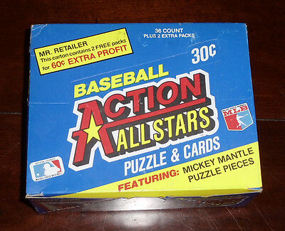 """1983 DONRUSS """"ACTION ALL-STARS"""" FULL CELLO BOX W/ 36 PACKS MICKEY MANTLE PUZZLE"""