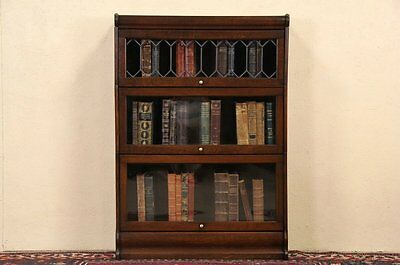 Lawyer or Barrister 3 Stack 1910 Antique Oak Bookcase, Leaded Glass