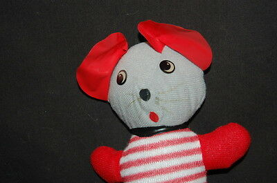 "ETONE RED GRAY MOUSE STRIPED SHIRT 9"" VTG  Plush 1977 Stuffed Animal Lovey Toy"