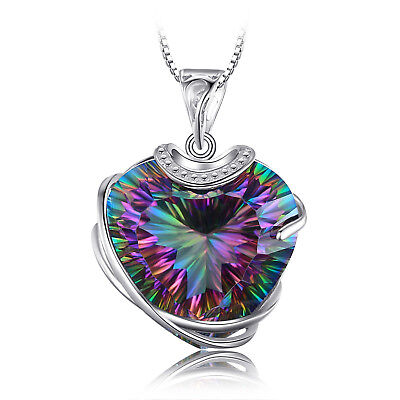 31ct HEART Genuine Fire Rainbow Coated Quartz Pendent 925 Sterling Silver Ladies