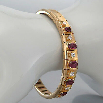 "ARMBAND""5 Rubine (Rubin)ca.1,8ct-6 Brillanten(Diamant) ca.0,58ct"" 18K/750 Gold"