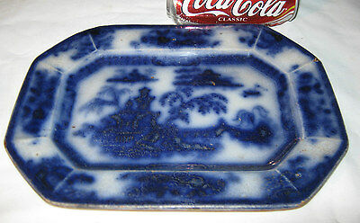 ANTIQUE 1850's AMERICAN FLOW BLUE PORCELAIN CHINA DINNER TABLE ART PLATTER TRAY
