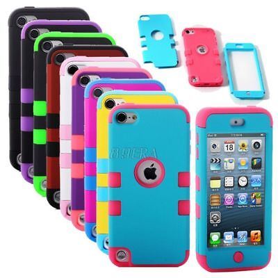 Rugged Combo Hybrid Impact Rubber Hard Soft Case Cover for iPod Touch 5 iTouch 5