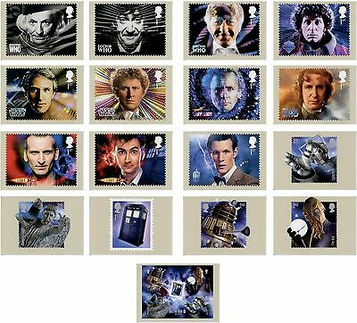 Doctor Who 2013 50th Anniv. Commemorative Set of 17 Royal Mail Postcards PHQ 374