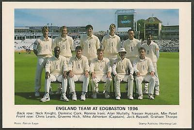 England Test Team 1996 Edgbaston Tccb Cricket Postcard