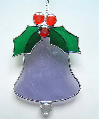 Xmas Bell + Holly red berries stained glass suncatcher wall window decoration