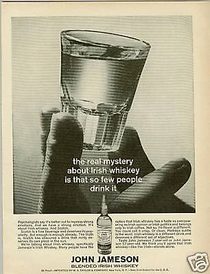 JOHN JAMESON Whisky 1965 Advertisement THE REAL MYSTERY
