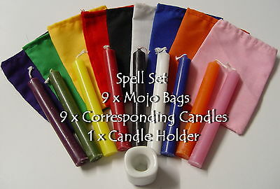 SPELL SET OF 9 MOJO BAGS, 9 CORRESPONDING CANDLES & 1 x HOLDER Wicca Pagan Witch