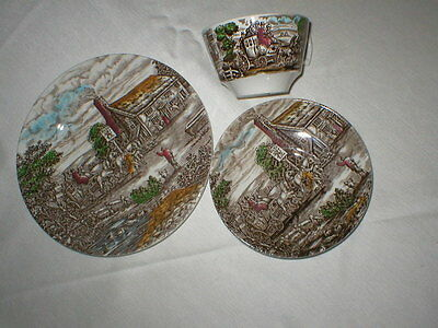 brown transferware cup saucer plate place setting England Wood POSTHOUSE