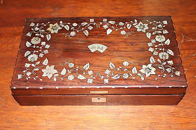 Elegant Mother-Of-Pearl Inlaid Antique Poker Box, Chips, & Cards 14173