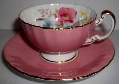 Aynsley Bone China Candy Pink Cup and Saucer Set  with Floral Bouquet #26