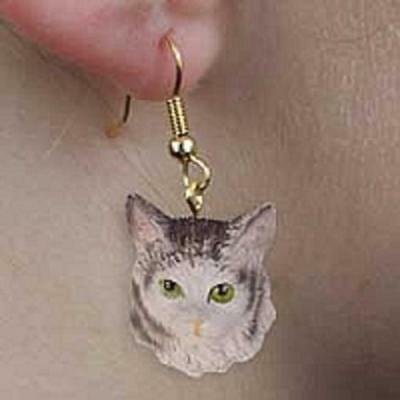 CHEH16 Silver Tabby Maine Coon Cat Earrings Hanging