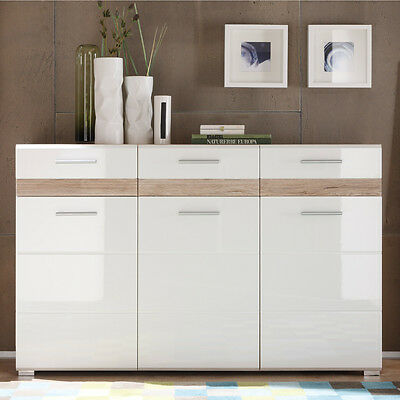kommode wei hochglanz san remo eiche schrank anrichte highboard sideboard eur 224 10. Black Bedroom Furniture Sets. Home Design Ideas