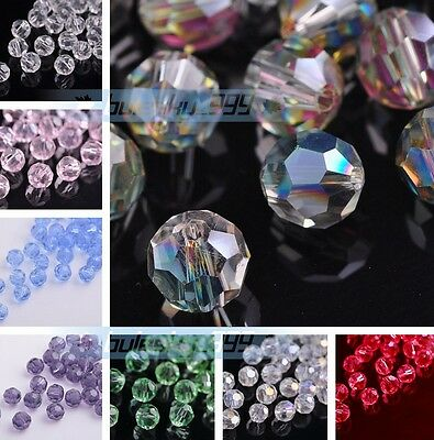 (32 Facets) 50~200PCS 6mm Round Glass Crystal Charms Findings Loose Spacer Beads
